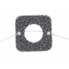 Pewter Connector - Square Closed Weave 19mm Antique Silver
